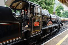 Restored British steam locomotive 7827 `Lydham Manor`, Paignton, Devon, England, United Kingdom, May 24, 2018 royalty free stock image