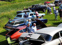 Restored Cars And Trucks At Car Show. Restored classic vehicles at car show in St Alberta Alberta August 2016 Royalty Free Stock Photography