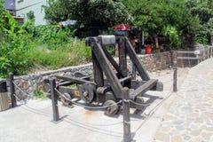 The restored catapult in Alanya Castle Alanya, Turkey.  Royalty Free Stock Photo