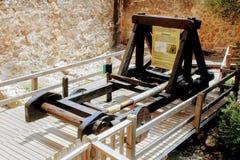 The restored catapult in Alanya Castle Alanya, Turkey.  Stock Image