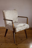 Restored chair. Restored wooden retro soft armchair Royalty Free Stock Image