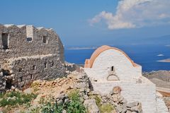 Castle chapel on Halki Royalty Free Stock Images