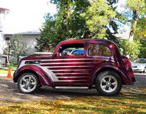 Restored Classic Burgundy And White Car Royalty Free Stock Image