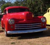 Restored Classic Red Sedan Stock Photo