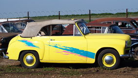 Restored Classic Yellow Rag Top Car Stock Images