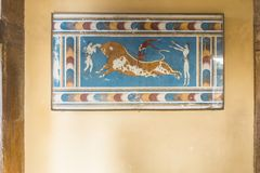 Knossos Palace Crete. The restored details the Minoan Palace at Knossos. Crete, Greece. Europe Royalty Free Stock Images
