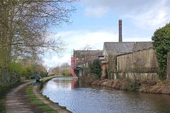 Restored factory and industrial buildings next to canal, Stoke-on-Trent Stock Images