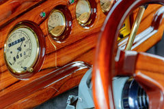 Restored ford streetrod dash. Fully restored red ford streetrod Stock Photos