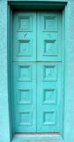Restored Front Door Painted Aqua Color Royalty Free Stock Images