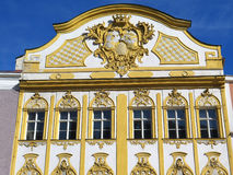 Restored golden facade of bavarian house, german architecture Royalty Free Stock Photo