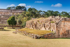 Restored Grandstand, Ball Court, Uxmal Stock Photos