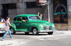 Restored Green Plymouth In Havana Royalty Free Stock Images