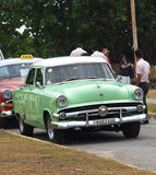 Restored Green And White Ford At Playa Del Este Cuba Stock Photo