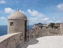Restored Guard Tower on the Acient City Wall of Dubrovnik Stock Photos