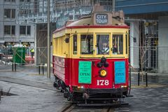 Restored Heritage Tram, one of Christchurch`s leading attractions for touring the city and viewing landmarks and local sights. Christchurch, New Zealand Royalty Free Stock Photo
