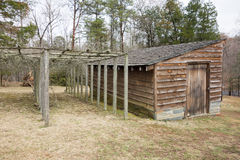 Restored historic wood house in the uwharrie mountains forest Stock Image