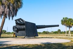 Restored weapon at Fort de Soto. Restored 6-inch Armstrong rapid-fire rifle from Fort Dade. Now situated at Fort de Soto Royalty Free Stock Images