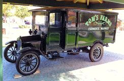 RESTORED MODEL T FORD DELIVERY BOBTAIL TRUCK ON PERMANENT DISPLAY AT TOM`S FARMS IN CORONA, CALIFORNIA * 2014 Stock Image