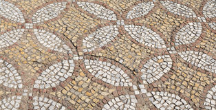 The restored mosaic floor. Byzantium mosaic. The restored mosaic floor. Chersonesus. Byzantium mosaic. Approximately the middle of the sixth century AD royalty free stock photos