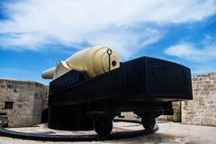 A restored old 100 ton gun. A restored old Armstrong 100 ton gun located in Fort Rinella, Kalkara Malta Royalty Free Stock Photos