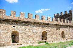 The restored old fortress in the city Sudak Stock Photo
