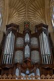 Large Church Pipe Organ. The restored organ inside Bath Abbey, UK located in the north transept stock photo