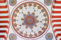 Restored Paintings on Interior Wall of a Mosque Dome Stock Photo