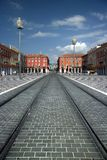 Restored Place Massena - Nice France. The recentlly restored Place Massena in Nice, France, on the foreground the new tramway lines stock images