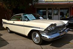 Restored 1959 Plymouth Savoy. CASSELTON, NORTH DAKOTA, July 27, 2017: The annual Casselton Car Show which occurs the last Thursday of July features classic Royalty Free Stock Photography