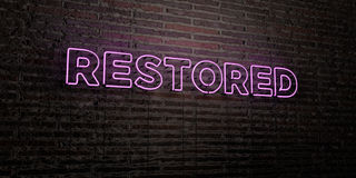 RESTORED -Realistic Neon Sign on Brick Wall background - 3D rendered royalty free stock image. Can be used for online banner ads and direct mailers Royalty Free Stock Photography