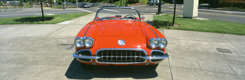 Restored red 1959 Corvette. Front view, Portland, Oregon Stock Images