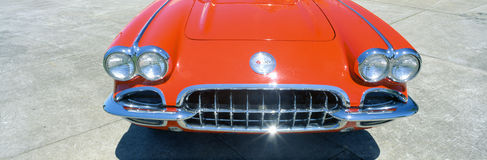 Restored red 1959 Corvette. Front close-up, Portland, Oregon Royalty Free Stock Images