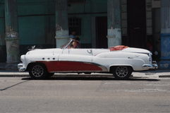 Restored Red And White Convertible In Havana Stock Photos