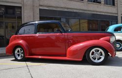 Restored 1937 Restored red and black Chevy. CASSELTON, NORTH DAKOTA, July 27, 2017: The annual Casselton Car Show which occurs the last Thursday of July features Stock Images