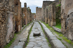 Restored ruins in the ancient city Pompeii Stock Image