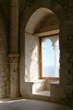 Restored ruins, a castle of middle ages. A detail of the interiors of the restored medieval fortress of mussomeli, sicily, a well known sample of architecture of Royalty Free Stock Photo