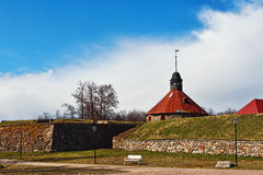 Restored russian ancient fortress of Korela. Well restored medieval fortress built in northern style Stock Photography