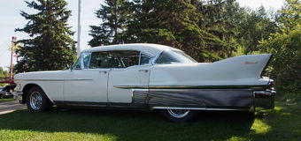 Restored 1960s White Fleetwood Cadillac Royalty Free Stock Photo