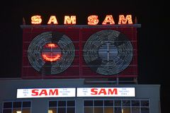 Restored Sam The Record Man sign at Yonge-Dundas stock photos
