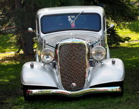 Restored Silver Truck With Hotrod Designation. Parked on grass Royalty Free Stock Image