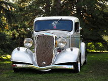 Restored Silver Truck With Hotrod Designation. Parked on grass Stock Images