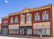 Ornate downtown storefronts small town Midwest Royalty Free Stock Images