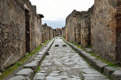 Restored street in the ancient Pompeii Royalty Free Stock Images