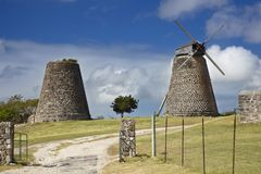 Betty`s Hope, Antigua. The restored sugar plantation windmills at Betty`s Hope in the center of Antigua stock photo