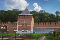 Restored tower of Nizhny Novgorod Kremlin in Russia Royalty Free Stock Images
