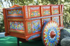 Restored Traditional Costa Rican Oxcart. Hand painted and restored traditional wooden Costa Rican Oxcart stock photography