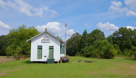 Restored Train Depot in Grassy Field Royalty Free Stock Photos