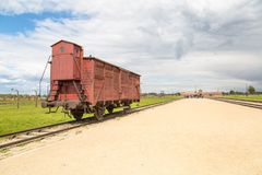 Restored transport wagon with the entrance of former Nazi concen Royalty Free Stock Photos