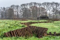 Restored trench with casemate in the background royalty free stock images