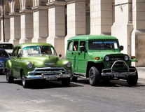 Restored Vehicles On Street In Havana Cuba Royalty Free Stock Image